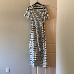 Patterned wrap hi-lo dress